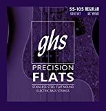 GHS Strings M3050 4-String Precision Flatwound, Stainless Steel Flat Wound Bass Strings, Long Scale Plus (.045-.105)