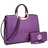 Dasein Patent Croco Briefcase Satchel Shoulder Bag Handbag
