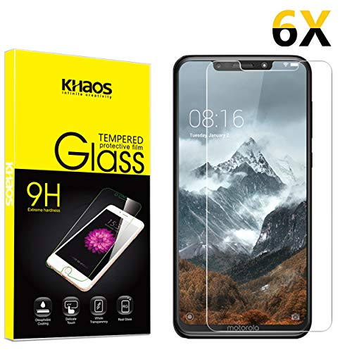 Screen Protector for Motorola One (P30 Play), [6-Pack] KHAOS Tempered Glass Screen Protectors for Motorola One P30 Play - 9H HD-Clear Anti-Scratch