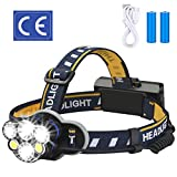 ELMCHEE Rechargeable headlamp, 12000 Lumen 6 LED 8 Modes 18650 USB Rechargeable Waterproof Flashlight Head Lights for Camping, Hiking, Outdoors