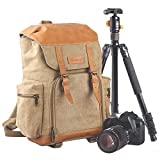 TARION M-02 Canvas Camera Backpack Water-Repellent Camera Bag for DSLR SLR Mirrorless Cameras & Accessories - Colour Khaki