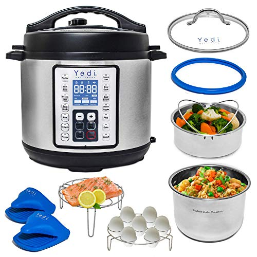 Yedi 9-in-1 Total Package 8 Quart XL Instant Programmable Pressure Cooker, Slow Cooker, Rice Cooker, Yogurt, Sauté, Steamer. Deluxe Accessory Kit, Recipe Book, Cheat Sheets, 2-Year Warranty
