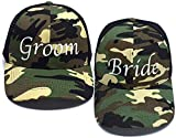 Premium Bride and Groom Camo Trucker Hats - Perfect for Bride, Groom, Bachelorette Parties, Bachelor Parties, Bridal Shower Gifts, Honeymoon Gifts and Wedding Gift Ideas