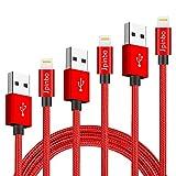 Jpinbo 3 Pack 3FT6FT10FT Phone Charger Cable Nylon Braided Charger Cable Charging for Phone XS/XR/8Plus/8/7Plus/7/6sPlus/6s/6/5S/SE, Pad 4, Pad Air 1/2, Pad Mini 1/2/3