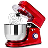 COSTWAY Stand Mixer, 7.5-Quart 660W 6-Speed Electric Mixer with Stainless Steel Bowl, Tilt-head Food Mixer with Dough Hook, Beater, Whisk (Red)