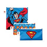 Bumkins DC Comics Superman Sandwich Bags/Snack Bags, Reusable, Washable, Food Safe, BPA Free, 3-Pack