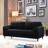 DIVANO ROMA FURNITURE Mid Century Modern Linen Fabric Living Room Sofa (Black)