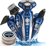 5 In 1 Rechargeable Electric Shaver Razor Men Rotary Shaver For Men Cordless Wet Dry Beard, Nose, Ear, Body Hair Trimmer, Face Cleaning Brush By Venyn