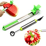 Morlike Watermelon Windmill Cutter - Stainless Steel Watermelon Slicer, Carver, Cutter, Knife - Carving and Cutting Tools for Home 2 PACK