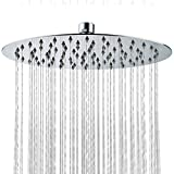 SR SUN RISE 12-inch Luxury Round Rainfall Shower Head Wall Mount High Pressure Rain Showerhead Ultra Thin Chrome Finish 2.5 Gpm SRSH-1201G