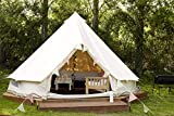 Outdoor Waterproof Luxury Glamping Bell Tents for Boutique Camping and Occasional Family Camping Trips and Festivals and Human shelter for inhabiting or Leisure (Beige Cotton Canvas, Dia. 5 Meters)