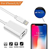 Splitter and Lightning Adapter for iPhone 7 / 7 Plus / 8 / 8 Plus / X,Dual Lightning Ports, Headphone Jack Audio & Charge Cable at the same time Data Sync Call Function, Supports iOS 11 or later