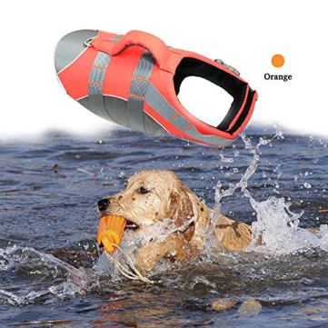 BOCHO-Wave-Riders-Reflective-Dog-LifeJacket-Super-Buoyancy-EVA-Lining-Adjustable-Dog-Safety-Vest-Small-Orange