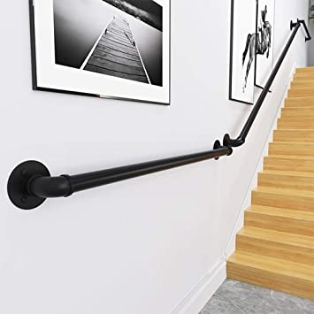 Wall Handrail 5Ft Section For Stairs Steps Dark Iron Easy Install | Handrail For Stairs Indoor | Short Staircase | Victorian | Width Hand | Wall | Glass Panel Stainless Steel Handrail