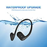Tayogo 8GB Waterproof MP3 Player Bone Conduction Swimming Headphones Support FM with Shuffle Feature - Black