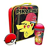 Pokemon Lunch Bag School Supplies Bundle ~ Large Pikachu Lunch Bag, Insulated Pokeball Lunch Box, Charizard Snack and Drink Tumbler, Silicone Pokeball Pouch (Pokemon School Supplies)