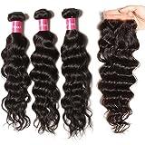 Longqi 10a Unprocessed Brazilian Virgin Hair Natural Wave Bundles With Closure Cheap Wavy Human Hair Bundles Deal Natural Color 3 Bundles of Brazilian Hair With Closure(16 18 20+14 Free Part Closure)