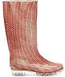 TOMS Women's Cabrilla Rain Boot Picante Red Herringbone Print Boot 11 B (M)