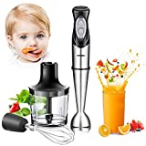 Immersion Hand Blender, 4-in-1 Multifunctional Handheld Blender with Ballon Whisk,20oz Chopper Bowl and BPA-Free Beaker for Baby Food,Smoothies,Sauces,Soup [FDA/ETL Approved]-2 Years Warranty
