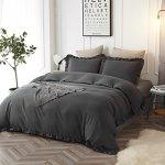 HYPREST-Queen-Duvet-Cover-Set-Microfiber-Soft-Comfortable-Durable-Ruffled-Dark-Grey-Duvet-Cover-Bedding-Set-Not-Including-Comforter