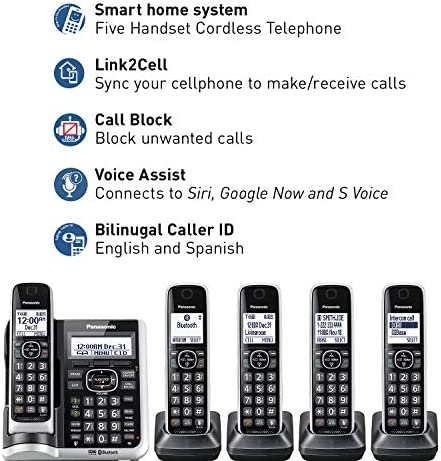 Panasonic Link2cell Bluetooth Cordless Phone System With Hd Audio Voice Assistant Smart Call Blocking And Answering Machine Dect 6 0 Expandable Cordless System 5 Handsets Kx Tgf675s Silver