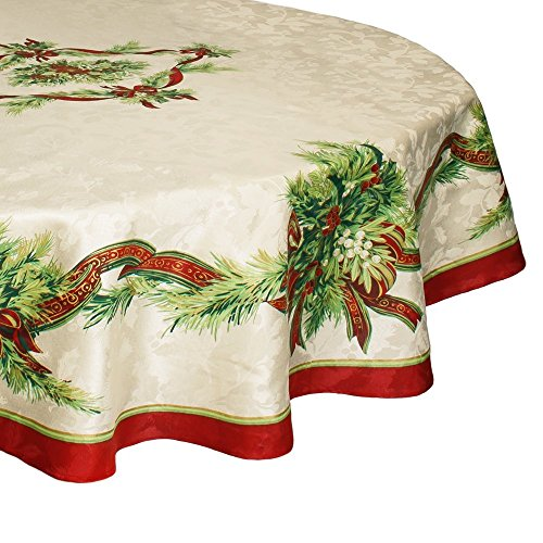 Benson Mills Christmas Ribbons Engineered Printed Fabric Tablecloth, 70 Inch Round