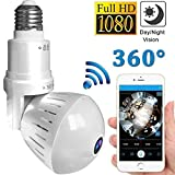 1080P Home WiFi Camera,360 Degree Panoramic Wireless VR Fisheye Security IP Camera for Home Baby/ Pet/ Elder /School/Office Monitor Indoor Light Bulb Camera Night Vision Motion Detection Camera