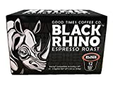 Black Rhino Espresso Roast Coffee, Single Serve Cups for Keurig K-Cup Brewers, 12 Count