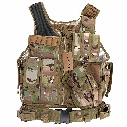 Lixada Tactical Vest Military Airsoft Vest Adjustable Breathable Combat Training Vest for Outdoor Hunting,Fishing,Army Fans,CS War Game,Survival Game, Combat Training