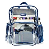 Heavy Duty Clear Bookbag Durable Plastic Transparent Clear Backpack Military Nylon Bottom (Medium, Blue)