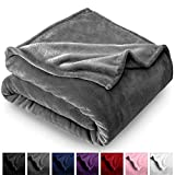 Bare Home Microplush Velvet Fleece Blanket - Throw/Travel - Ultra-Soft - Luxurious Fuzzy Fleece Fur - Cozy Lightweight - Easy Care - All Season Premium Bed Blanket (Throw/Travel, Grey)
