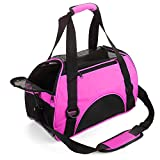 MisteSun Cat Carrier,Soft-Sided Pet Travel Carrier for Small Cats,Dogs Puppy Comfort Portable Foldable Pet Bag Airline Approved Pink(S:15.7' L×7.9' H×11.8' W) (Small)