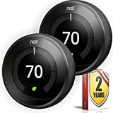 Nest Learning Thermostat - 3rd Generation - (2 Pack, Black)