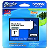 Brother P-touch ~1' (0.94') , TZe251, Black on White Standard Laminated Tape - 26.2 ft. (8m)