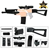 NERBEST WYSWYG 6 in 1 Mods Kit Compatible with Nerf Stryfe Elite Attachments Fit for Worker Clips Toy (Black) (MP5+White Light Black)