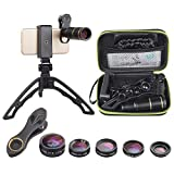 Apexel Cell Phone Camera Lens with Tripod,6 in 1 Lens Kit-16x Telephoto Zoom Lens/Fisheye/Wide Angle/Macro/CPL/Star Filter, Clip-On lense Compatible for iPhone X 8 7 6 Plus Samsung Smartphone