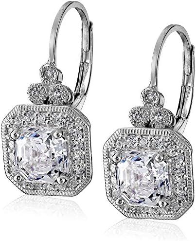 Platinum or Gold-Plated Sterling Silver Swarovski Zirconia Asscher-Cut Antique Drop Earrings