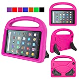 MENZO Kids Case for All-New Fire 7 Tablet (9th Generation - 2019 Release), Light Weight Shockproof Handle Stand Kids Friendly Case for Amazon Fire 7 2019 & 2017 (7' Display), Rose