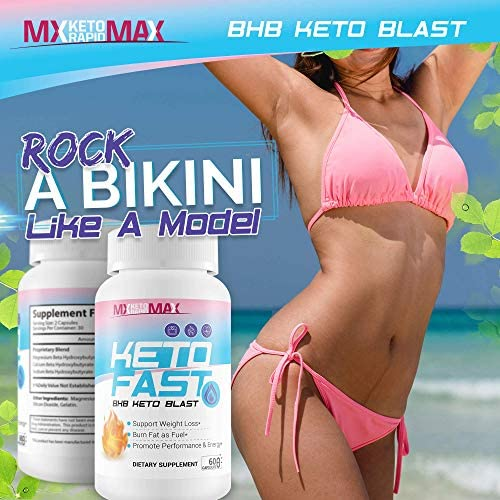 Keto Fast - BHB Keto Blast - Burn Fat Fast with Accelerated Ketosis Entry - by MX Keto Rapid Max - Feel The MX Keto Blast Effect of Calcium BHB Salts for max Rapid Keto Fat Burning and Weight Loss 5
