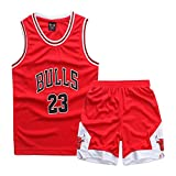 ZETIY Men's 2-Piece Basketball Jersey Top and Shorts Sets (XL, Red)