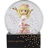 Precious Moments Girl in Floral Skirt Let Your Light Shine Resin/Glass Waterball with Gold Glitter, One Size, Multicolor