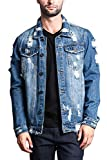 Victorious Distressed Denim Jacket DK100 - Indigo - Medium - II7C