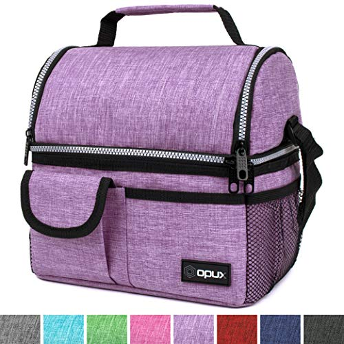 OPUX Deluxe Thermal Insulated Dual Compartment Lunch Bag for Women | Double Deck Reusable Lunch Box with Shoulder Strap, Soft Leakproof Liner | Large Lunch Tote Pail for Work, School (Purple)