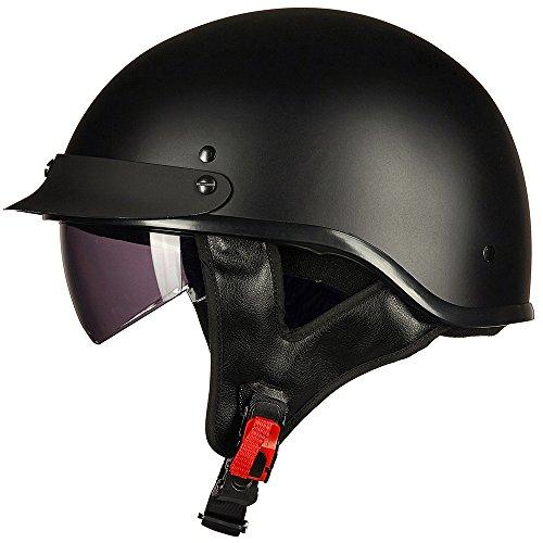 ILM Motorcycle Half Helmet Sun Visor Quick Release Buckle DOT Approved Half Face Cycling Helmets for Men Women (L, MATT BLACK)