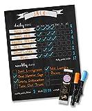 Jennakate- Magnetic Chalkboard Design- Child Behavior Reward Chore Chart-Daily Household Chore Checklist-Job Chart- Dry Erase- 11'x14' Dry Erase Markers
