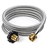 GASPRO 10FT Stainless Braided Propane Hose Adapter 1lb to 20lb, Propane Tank Gas Stove Hose Converter Replacement Parts for Coleman Camp Stove, Buddy Heater,Weber Q Grill and More