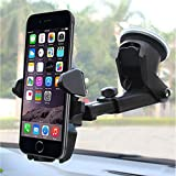Universal Car Mount Holder Phone, Manords Long Neck One Touch Cell Phone Holder Compatible iPhone XS X 8 8Plus 7 7s 6s Plus 6s 5s 5c Samsung Galaxy S9 S8 Edge S7 S6 Note 9 and More (Black)
