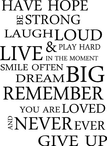 HAVE HOPE BE STRONG LAUGH LOUD & PLAY HARD LIVE IN THE MOMENT SMILE OFTEN DREAM BIG REMEMBER YOU ARE LOVED AND NEVER EVER GIVE UP inspirational wall sayings arts