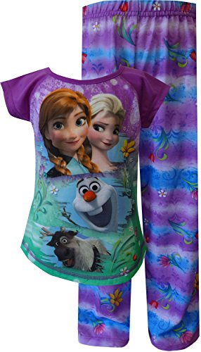 Disney Girls Frozen Princesses Elsa, Anna, Sven and Olaf Purple Pajama (7/8)