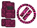 7 Piece Safari Animal Print Automotive Interior Gift Set - 4 Universal Fit Carpet Floor Mats, Universal Fit Steering Wheel Cover, and 2 Seat Belt Shoulder Pads - Hot Pink Zebra